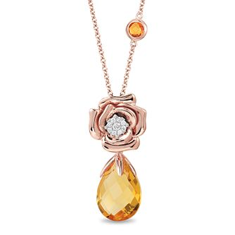Enchanted Disney Diamond & Citrine Drop Belle Rose Pendant - Product number 4311469
