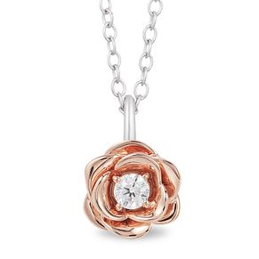 Enchanted Disney Fine Jewelry Rose Gold Belle Rose Pendant - Product number 4311884