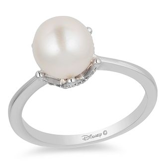 Enchanted Disney Silver Pearl & 1/10ct Diamond Ariel Ring - Product number 4311965