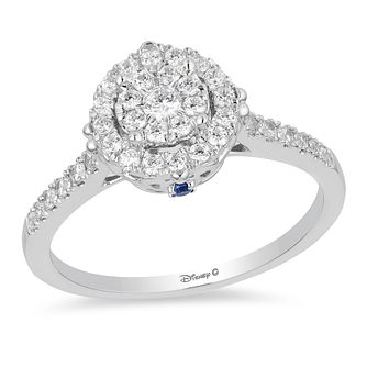 Enchanted Disney White Gold Diamond & Topaz Cinderella Ring - Product number 4313526