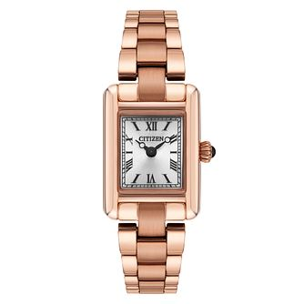 Citizen Eco Drive Ladies' Rose Gold Plated Bracelet Watch - Product number 4321340