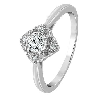 9ct White Gold 1/5ct Diamond Halo Ring - Product number 4321642