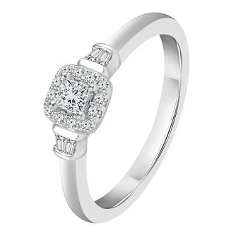 9ct White Gold 0.16ct Diamond Cushion Shaped Ring - Product number 4322479