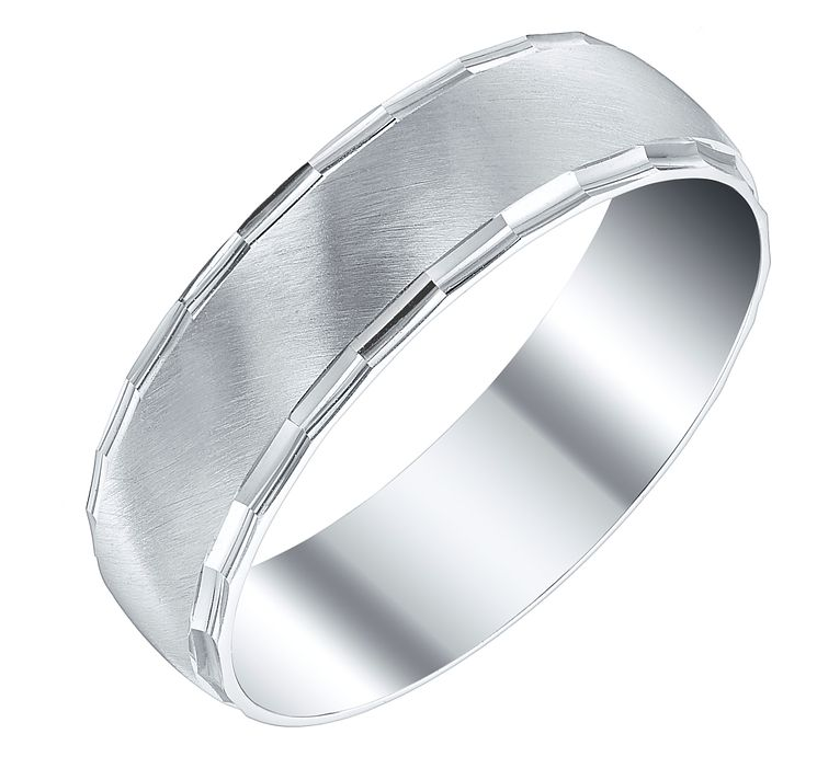 Men's 9ct 6mm White Gold Faceted Edge Band - Product number 4326334