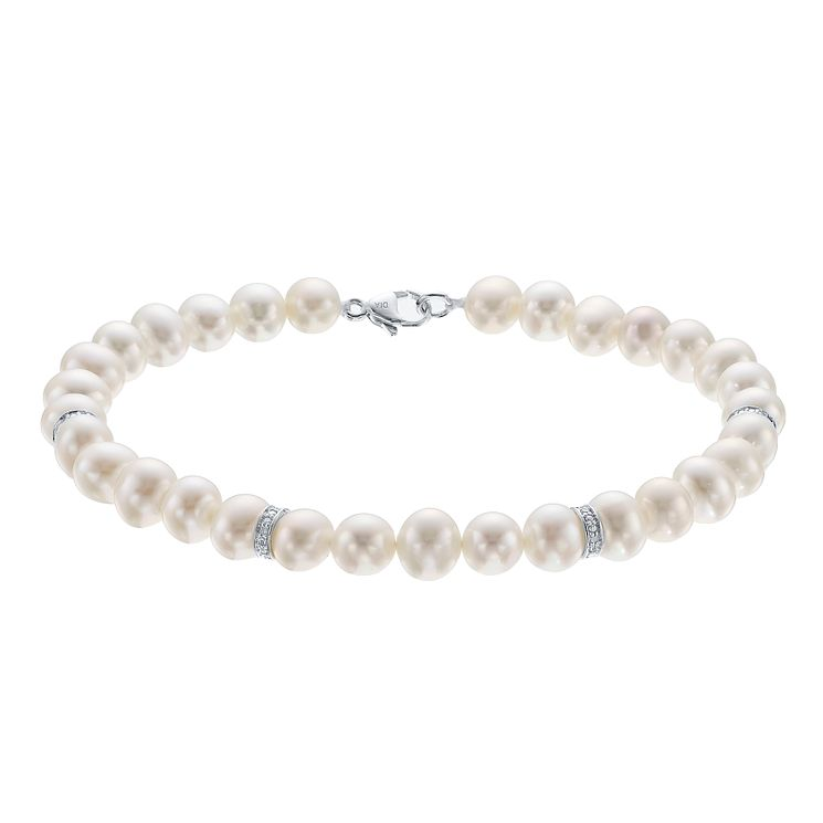 9ct White Gold Certified Cultured Freshwater Pearl Bracelet - Product number 4327764