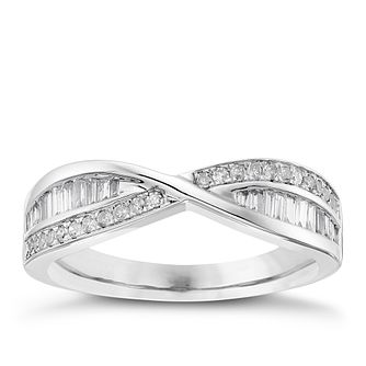 18ct White Gold 33pt Diamond Crossover Band - Product number 4330579