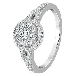 9ct White Gold 1/2ct Diamond Round Halo Ring - Product number 4334337