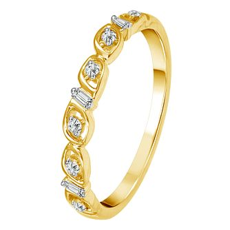 9ct Yellow Gold Round & Baguette Cut Diamond Eternity Ring - Product number 4344944
