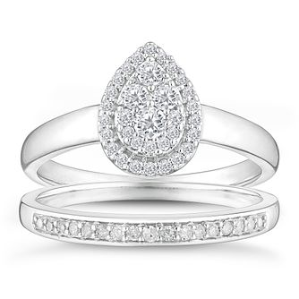 9ct White Gold 1/3ct Diamond Pear Shaped Bridal Set - Product number 4346424