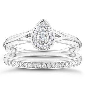 9ct White Gold 0.12ct Diamond Pear Shaped Bridal Set - Product number 4347323