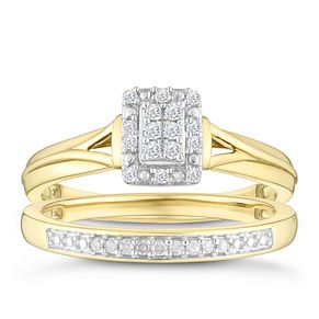 9ct Yellow Gold 0.12ct Diamond Rectangle Shaped Bridal Set - Product number 4348885