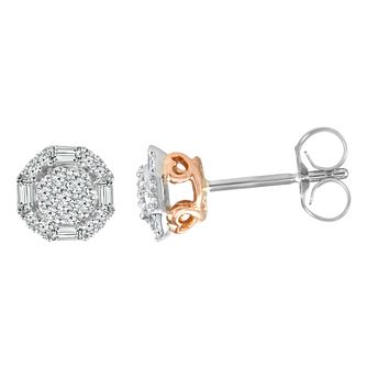 9ct White & Rose Gold 1/3ct Diamond Stud Earrings - Product number 4354931