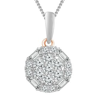 9ct White & Rose Gold 1/4ct Diamond Round Pendant - Product number 4354958