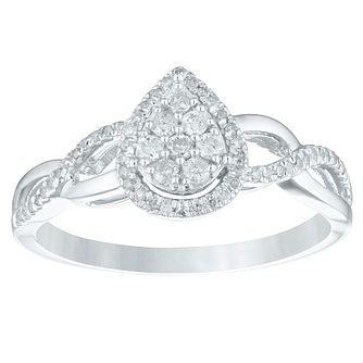 9ct White Gold 1/5ct Diamond Pear-Shaped Cluster Ring - Product number 4356640