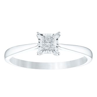Sterling Silver Diamond Square-Shaped Cluster Ring - Product number 4357809