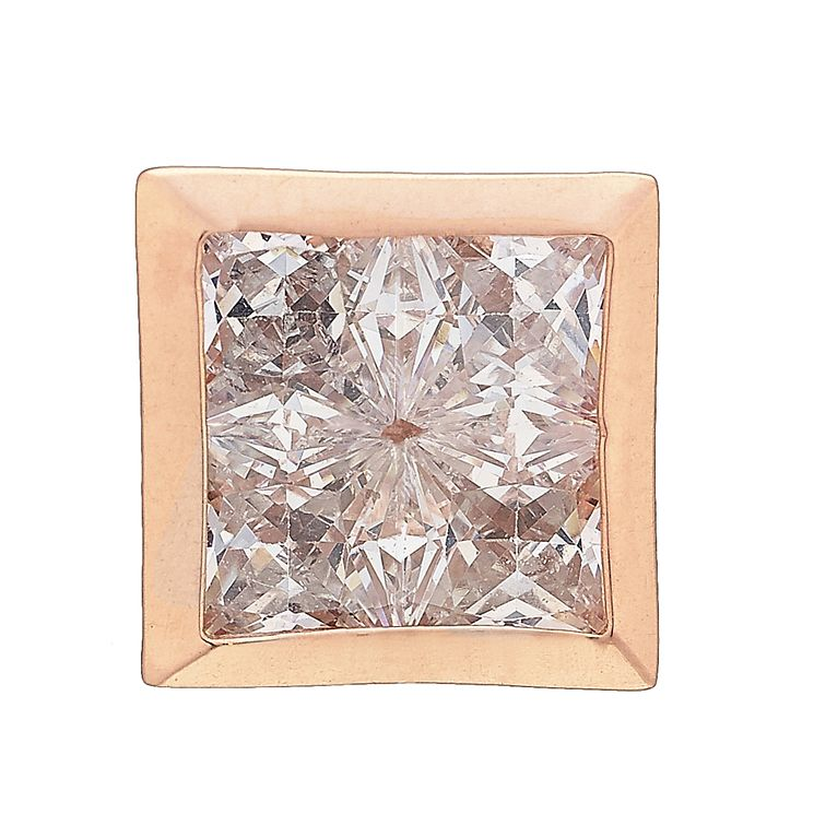 9ct Rose Gold Cubic Zirconia Square Stud Earring - Product number 4358694