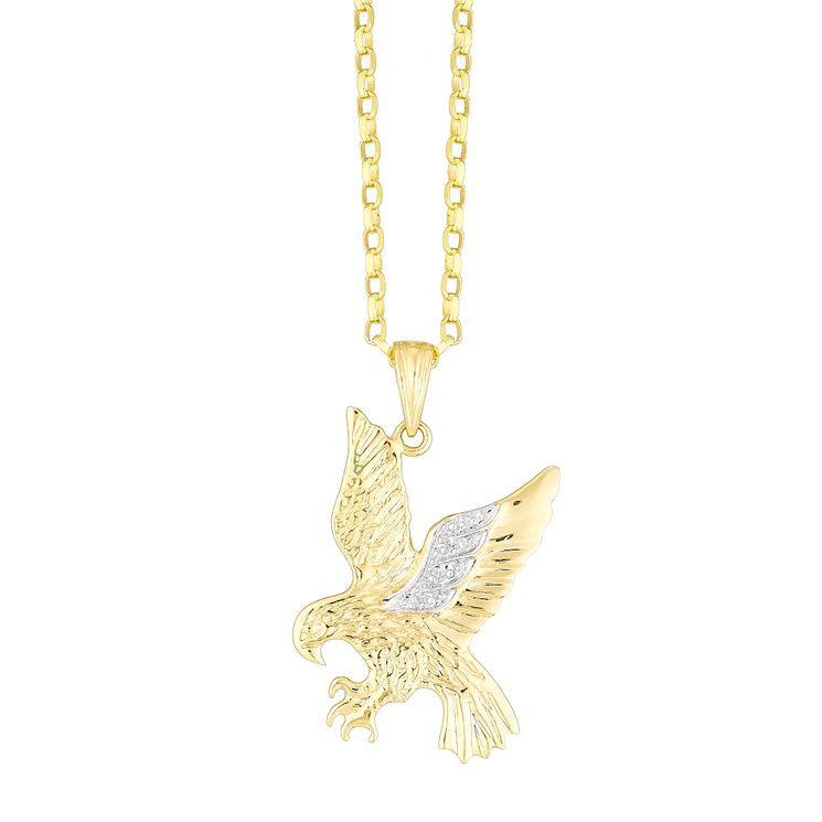 9ct Gold Diamond Set Eagle Pendant - Product number 4358708