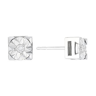 9ct White Gold Square Illusion Set Diamond Stud Earrings - Product number 4358732
