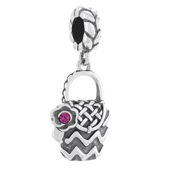 Chamilia Silver & Rose Swarovski Basket Purse Charm Bead - Product number 4365674