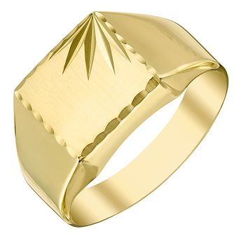 9ct Gold Diamond Cut Signet Ring - Product number 4367766