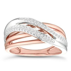 9ct White & Rose Gold 1/5ct Diamond Eternity Ring - Product number 4370023