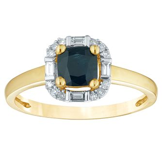 9ct Yellow Gold Sapphire & Diamond Cushion-Shaped Ring - Product number 4371240