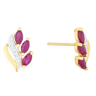 9ct Yellow Gold Ruby & Diamond Stud Earrings - Product number 4373170