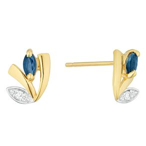 9ct Yellow Gold Sapphire & Diamond Stud Earrings - Product number 4373189