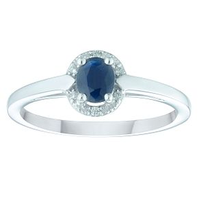 9ct White Gold Sapphire & Diamond Ring - Product number 4374150