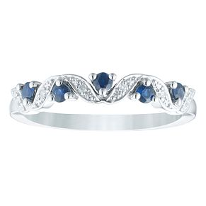 9ct White Gold Sapphire & Diamond Ring - Product number 4374665