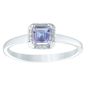 9ct White Gold Amethyst & Diamond Ring - Product number 4374894