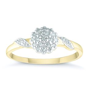 9ct Yellow Gold 1/10ct Diamond Cluster Ring - Product number 4378237