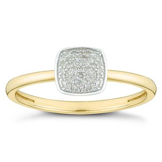 9ct Yellow Gold Diamond Cushion Cluster Ring - Product number 4378539