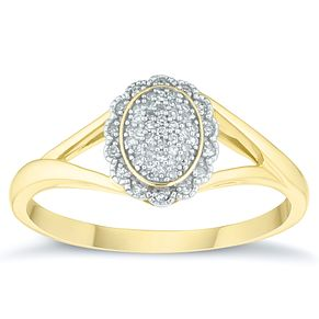 9ct Yellow Gold & Diamond Oval Cluster Ring - Product number 4378970