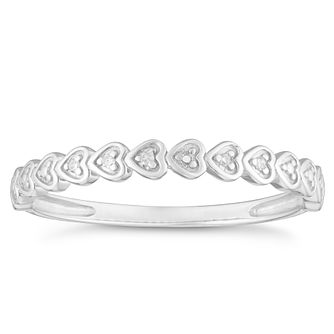 9ct White Gold Diamond Heart Eternity Ring - Product number 4380525