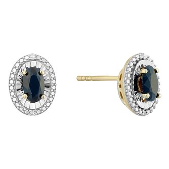 9ct Yellow Gold Black Sapphire & Diamond Oval Stud Earrings - Product number 4380673