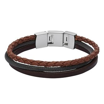 Fossil Men's Brown Leather Bracelet - Product number 4381033