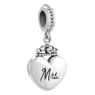 Chamilia Sterling Silver 'Mrs' Heart Charm Bead - Product number 4381254