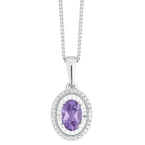 Sterling Silver Amethyst & Diamond Oval Pendant - Product number 4381513