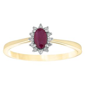 9ct Yellow Gold Treated Ruby & Diamond Oval Shaped Ring - Product number 4381742
