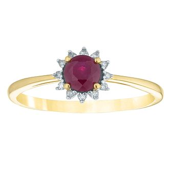 9ct Yellow Gold Treated Ruby & Diamond Round Shaped Ring - Product number 4382595