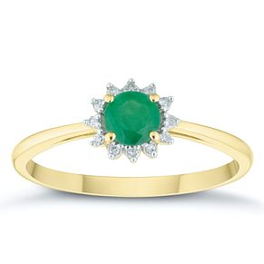 9ct Yellow Gold Emerald & Diamond Round Shaped Ring - Product number 4382919