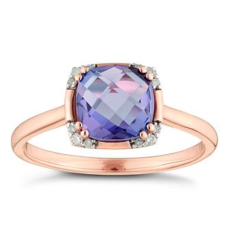 9ct Rose Gold Amethyst & Diamond Cushion Shaped Ring - Product number 4383281
