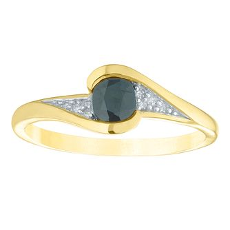 9ct Yellow Gold Sapphire & Diamond Oval Twisting Ring - Product number 4383559
