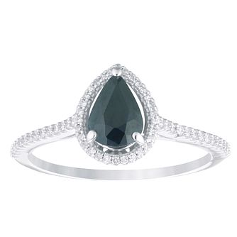9ct White Gold Sapphire & 0.12ct Diamond Pear Shaped Ring - Product number 4383729