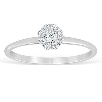 9ct White Gold 0.15ct Diamond Flower Cluster Ring - Product number 4387740