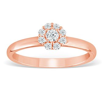 9ct Rose Gold 1/5ct Diamond Flower Cluster Ring - Product number 4388011