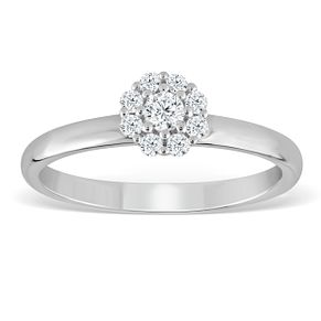 9ct White Gold 1/5ct Diamond Flower Cluster Ring - Product number 4388143