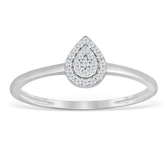 Sterling Silver & Diamond Pear-Shaped Cluster Ring - Product number 4388666