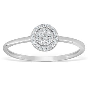 Sterling Silver & Diamond Circle-Shaped Cluster Ring - Product number 4388798